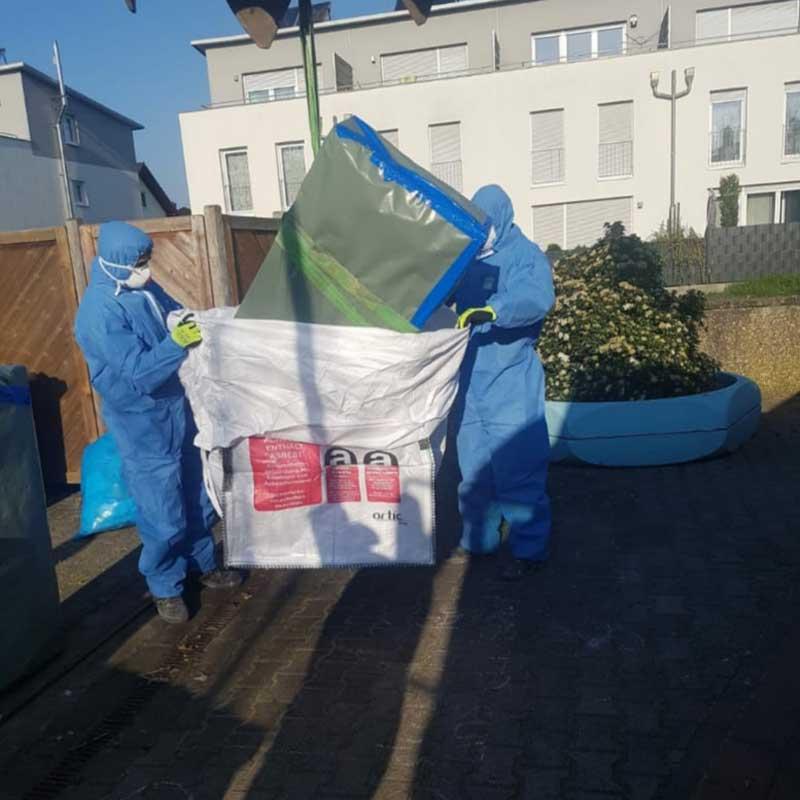 Sichere Asbestentsorgung in speziellen Asbest Big Bags durch AsbesTTech Darmstadt