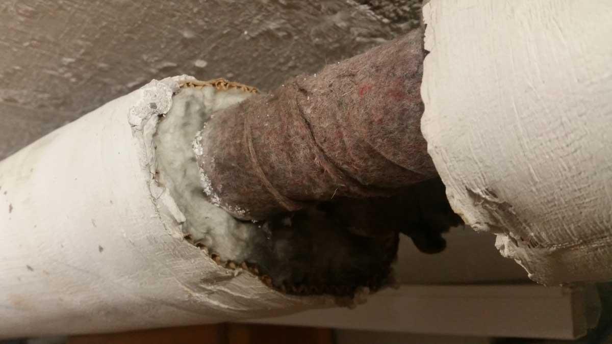 Künstlicher Mineralfaser (Glaswolle / Steinwolle) als Rohrisolierung | AsbesTTech Darmstadt